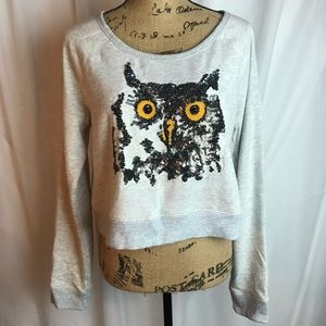 Express Cropped Sequin Owl Sweatshirt